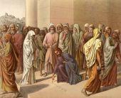 Fotografie Jesus rettet den Sünder von den Schlägen mit Steinen