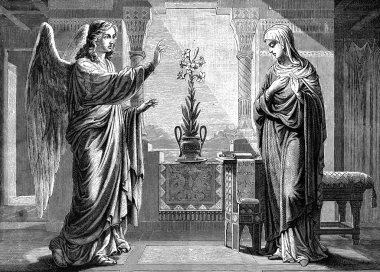 The Annunciation old illustration.