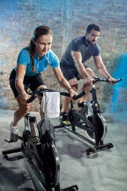 cardio exercise class on  bikes