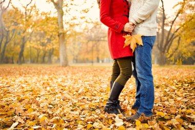 Romance in autumn in park