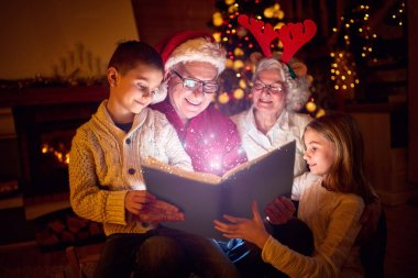Christmas magic book and family