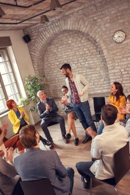 group therapy meeting- business people discussion