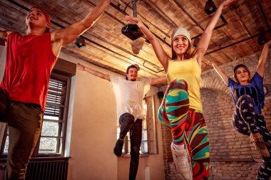 Professional dancer training modern dances in studio. Sport