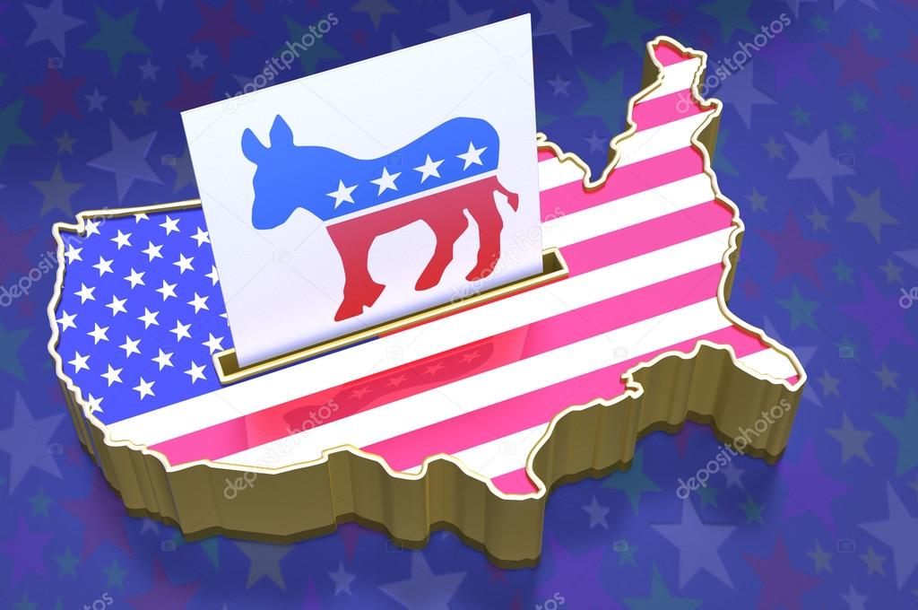 3D Illustration Ballot box in shape of USA map Democratic party