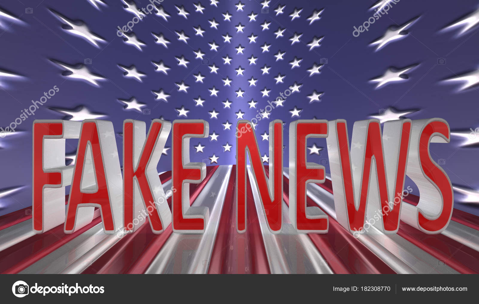 fake news in red letters with a silver border against an american flag background photo by marietjie