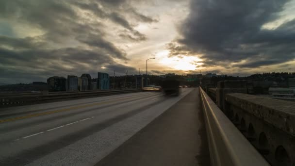 Time lapse of fast moving auto traffic on Ross Island bridge in