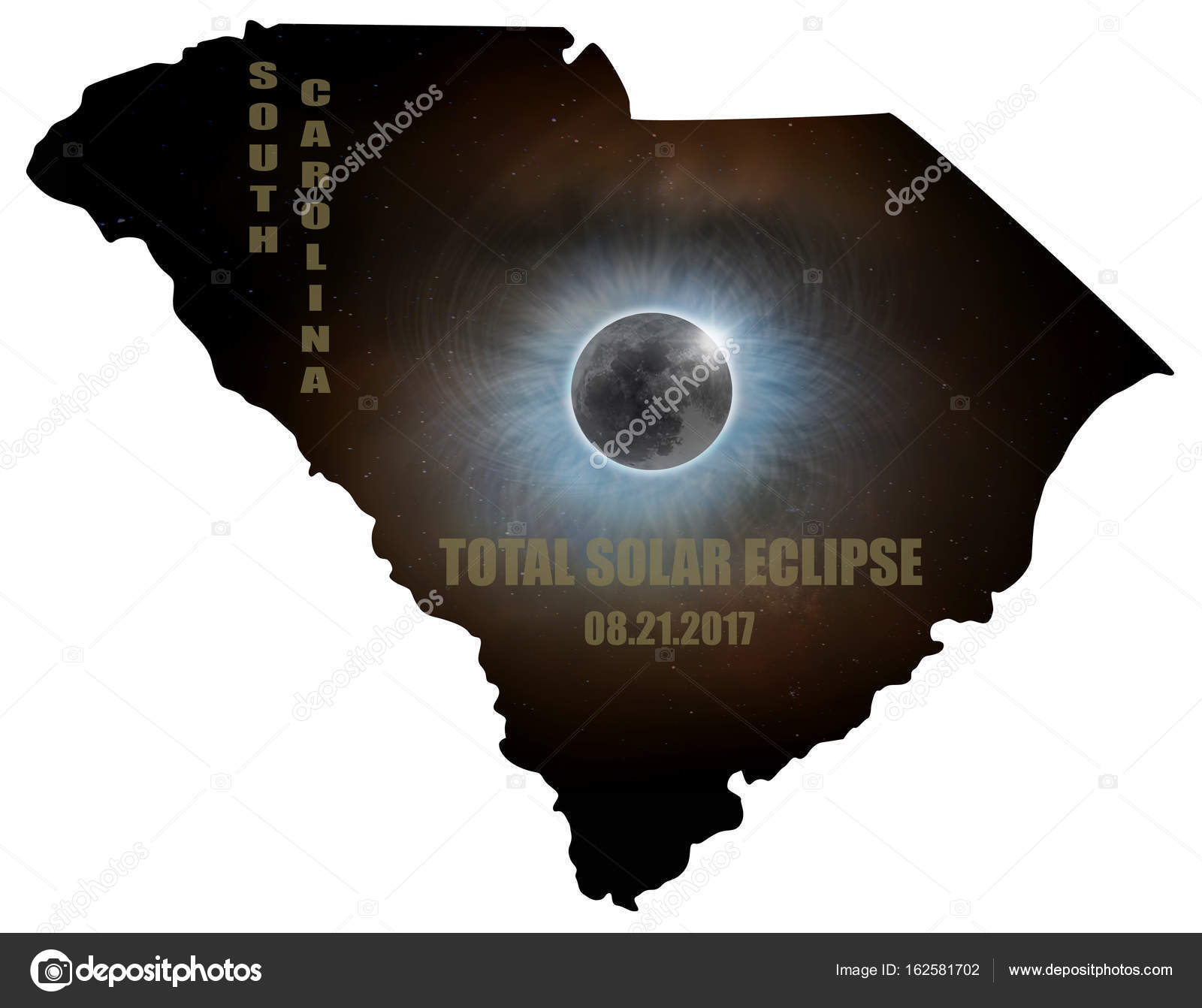 Total Solar Eclipse In South Carolina Map Outline Usa Stock Photo