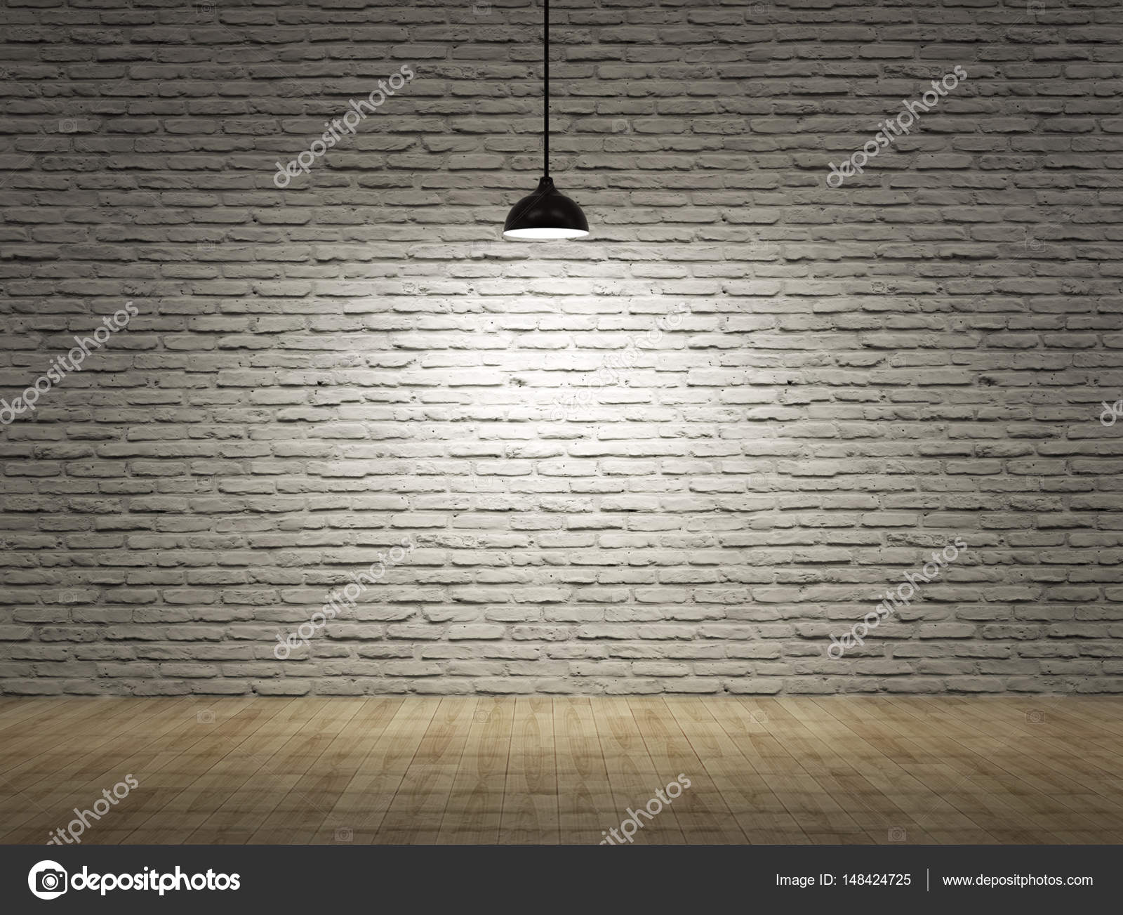 Brick wall lighting Conduit Ceiling Lamp With Brick Wall And Wood Floor Stock Image Dreamstimecom Ceiling Lamp With Brick Wall And Wood Floor Stock Photo Bruesw