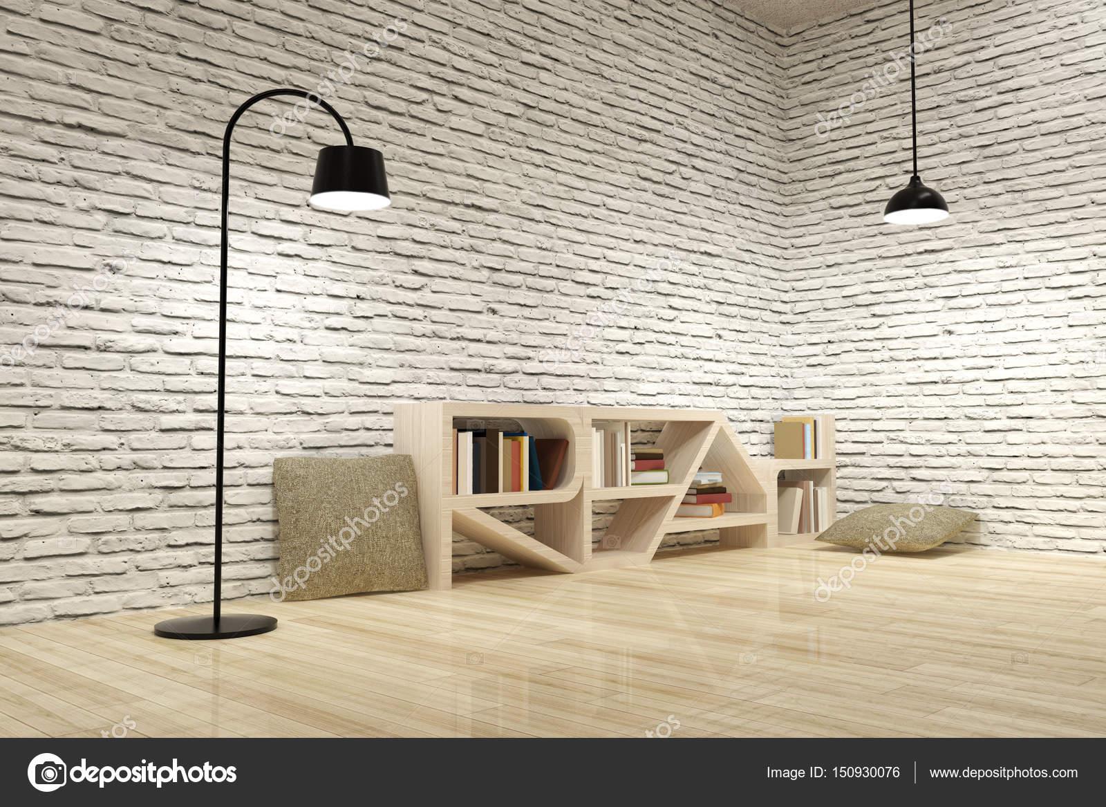 Fußboden Aus Ziegel ~ Lampen mit bücherregal auf hölzernen fußboden und ziegel wand