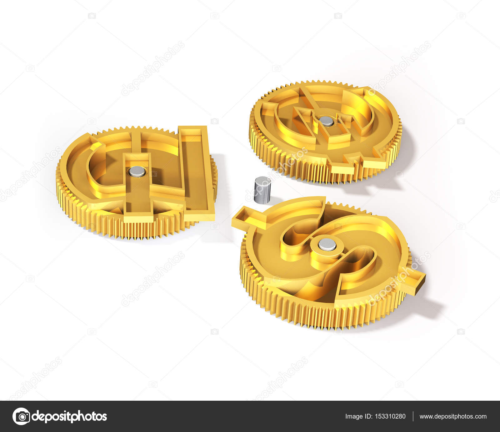Gears With Golden Dollar Sign Pound Euro Symbol 3d Illustrati