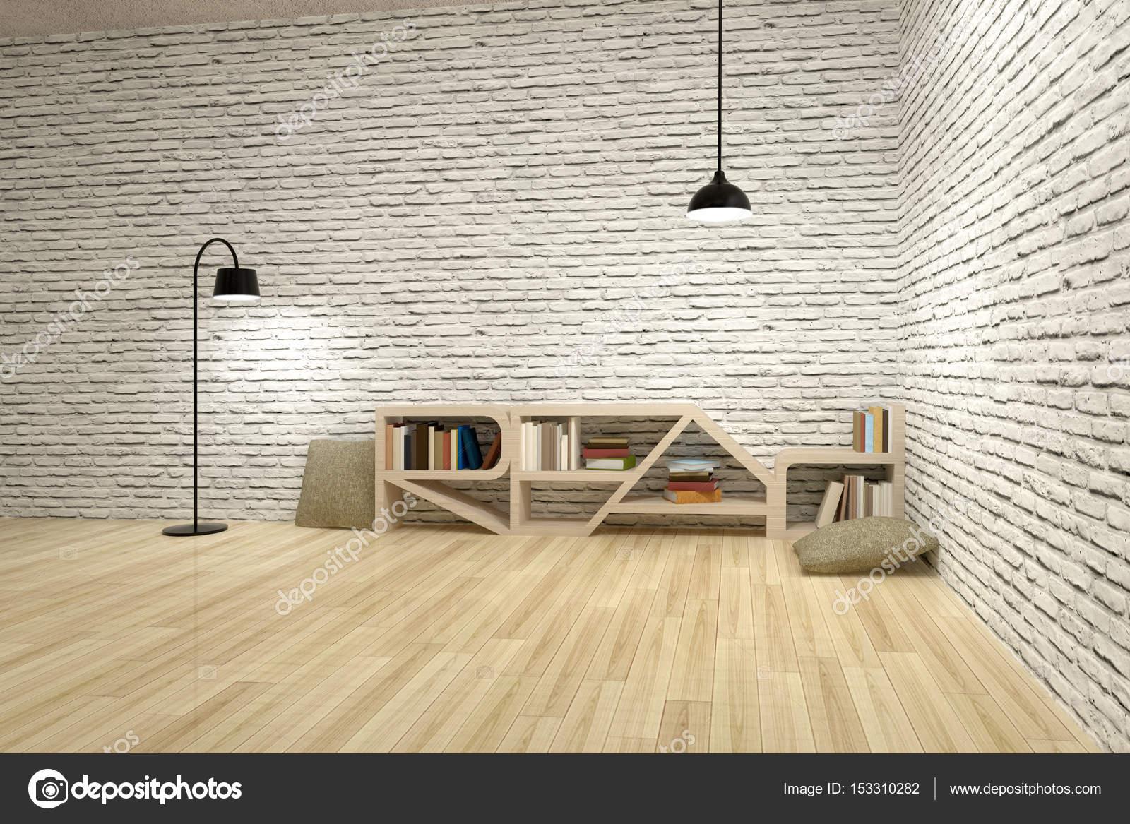 Lampes avec bibliothèque sur le mur de briques et le ...