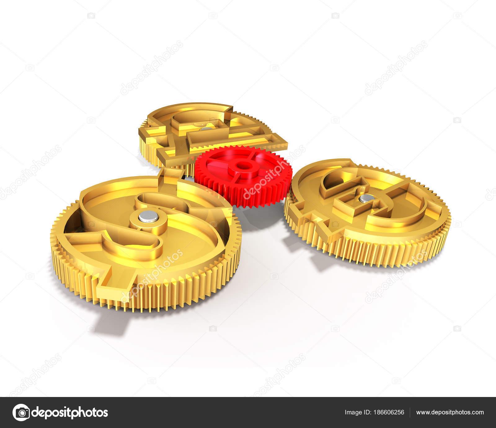 Gears With Golden Dollar Sign Pound Euro Symbol 3d Illustrati