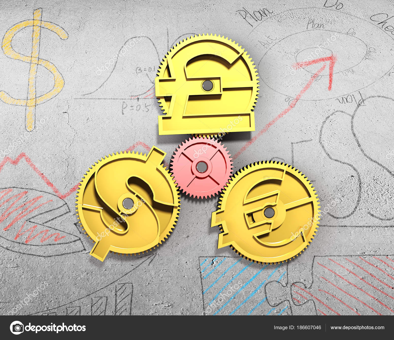 Gears With Golden Dollar Sign Pound And Euro Symbol Stock Photo