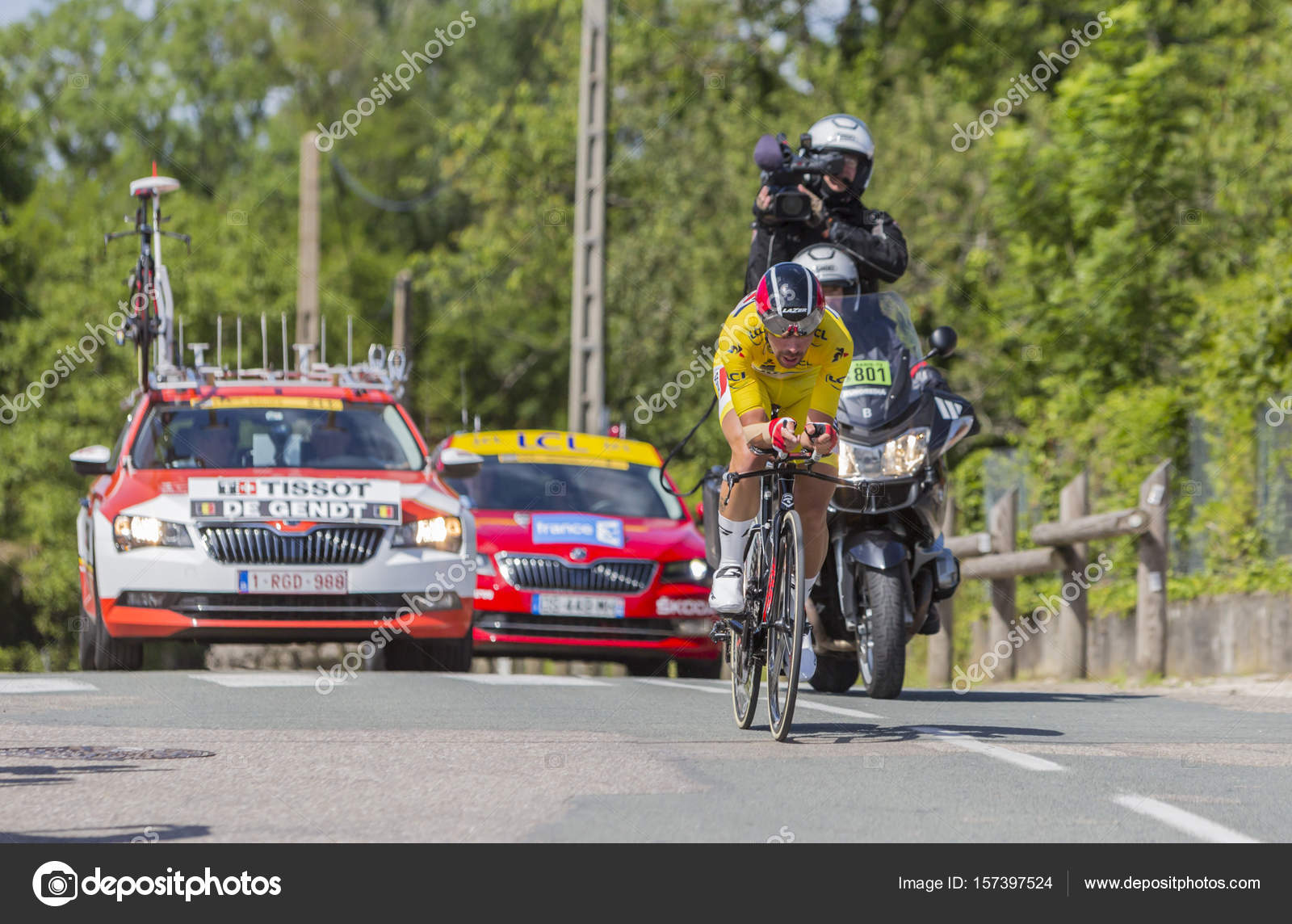 Bourgoin-Jallieu, France - 07, May, 2017: The Belgian cyclist Thomas De  Gendt of LottoSoudal Team, in Yellow Jersey, riding during the time trial  stage 4 of ...