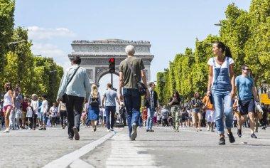 People walking on Champs Elysees