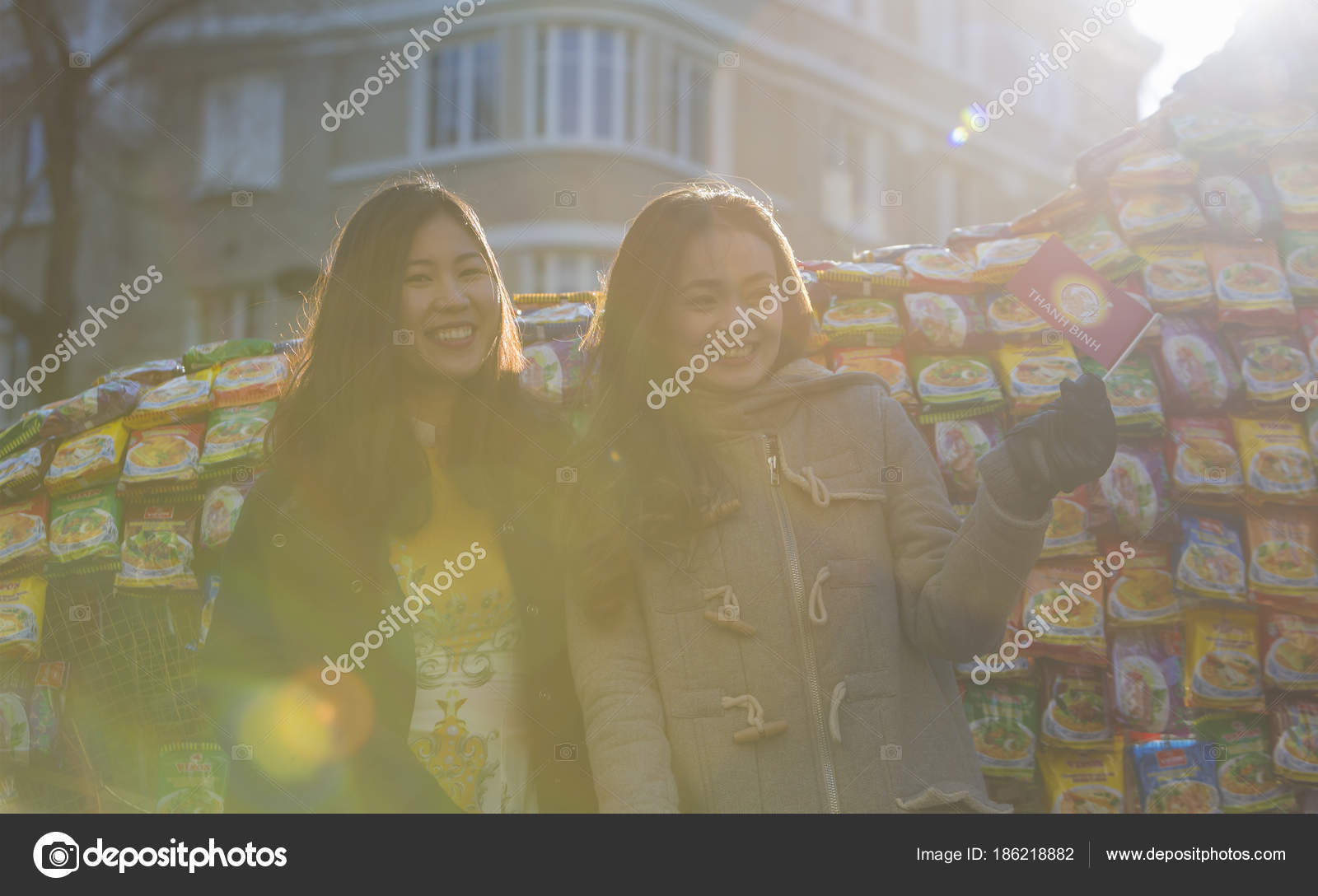 happy vietnamese girls chinese new year parade paris 2018 stock photo