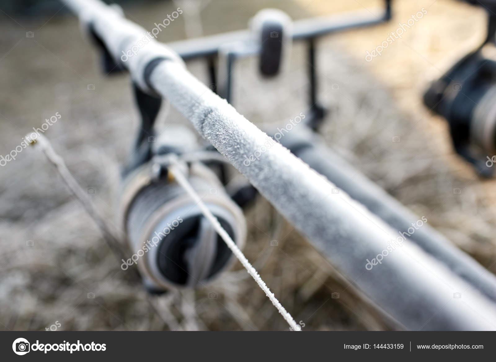 Cañas de pesca de carpa en el bastidor en el lago — Fotos de Stock ...