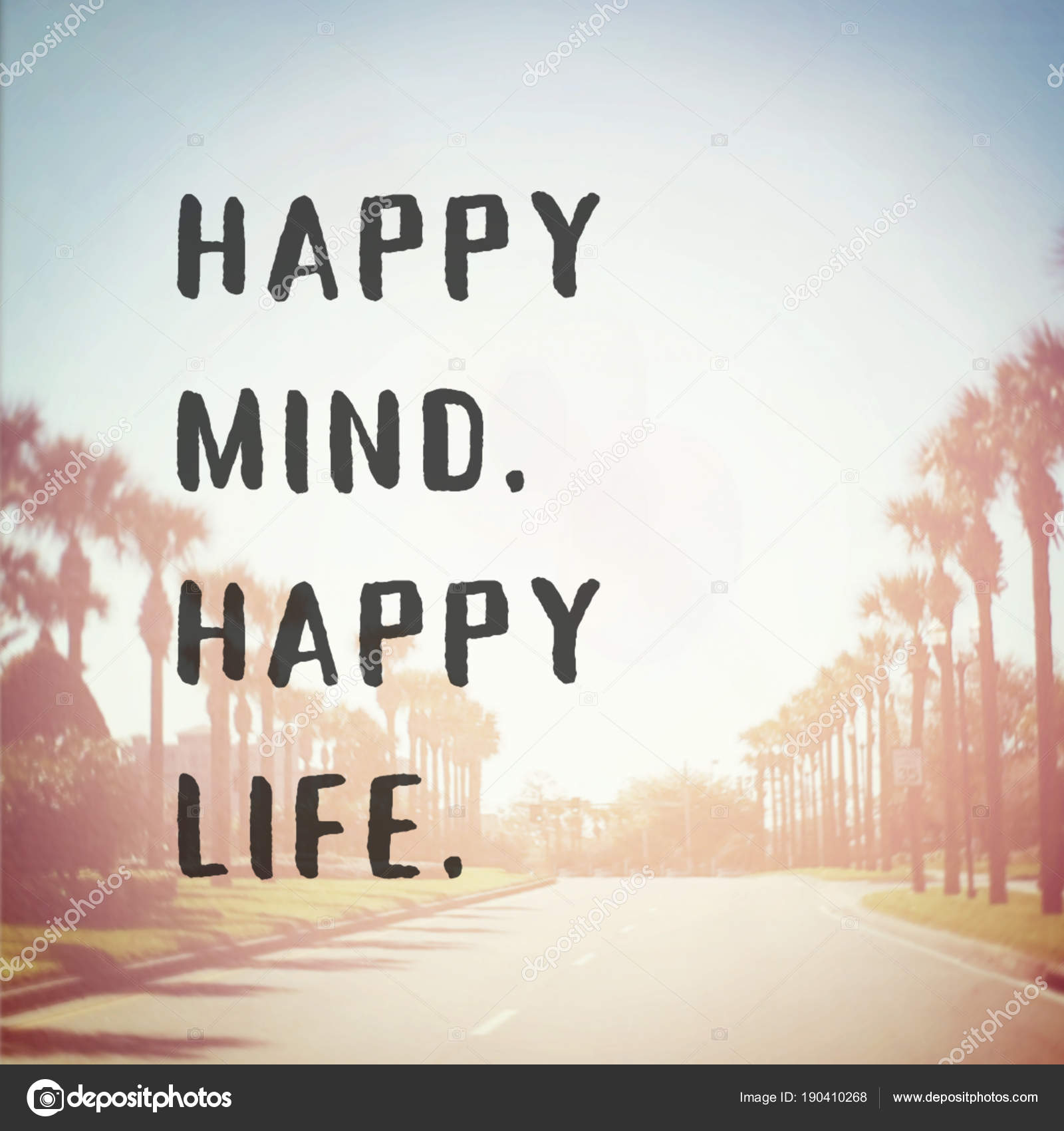 Frase Motivacional Mente Feliz Feliz Vida Stock Photo