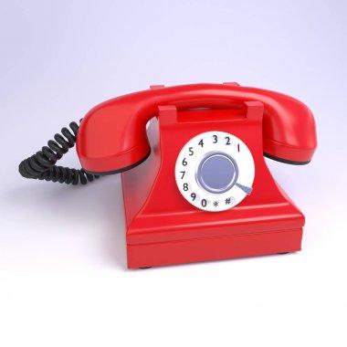 3d render vintage hotline telephone on the white background
