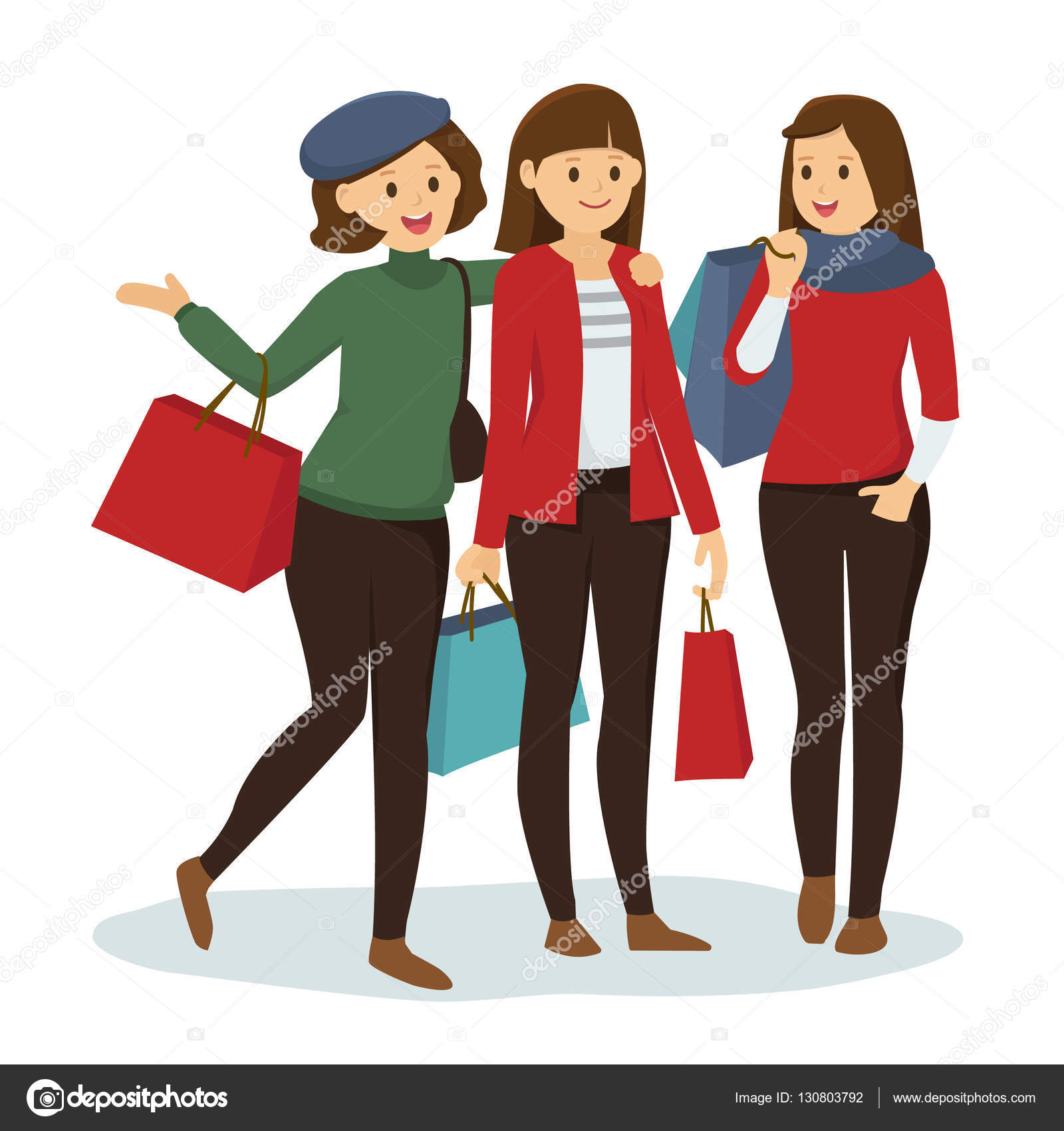 6b35df67ce Group of Girls Shopping for Christmas — Stock Vector © mmmint7@gmail ...