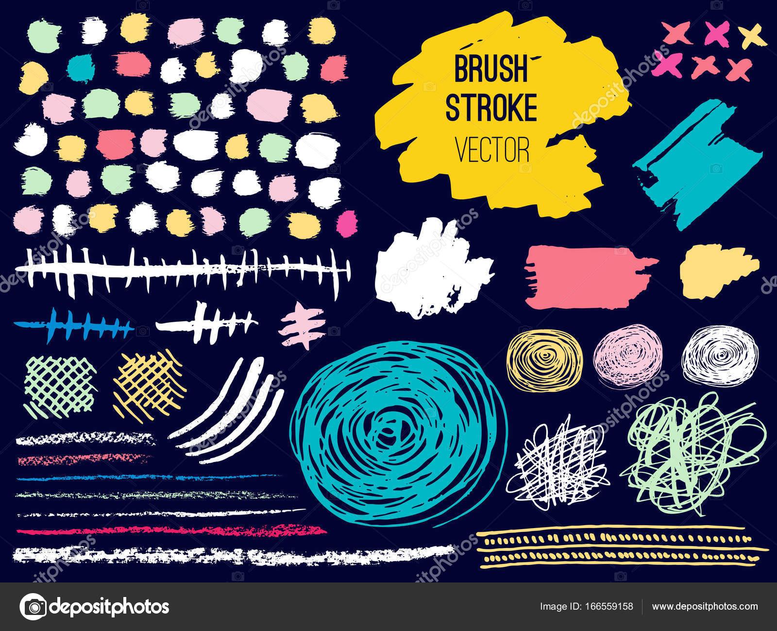set stroke spot blod brush pen marker chalk stock vector