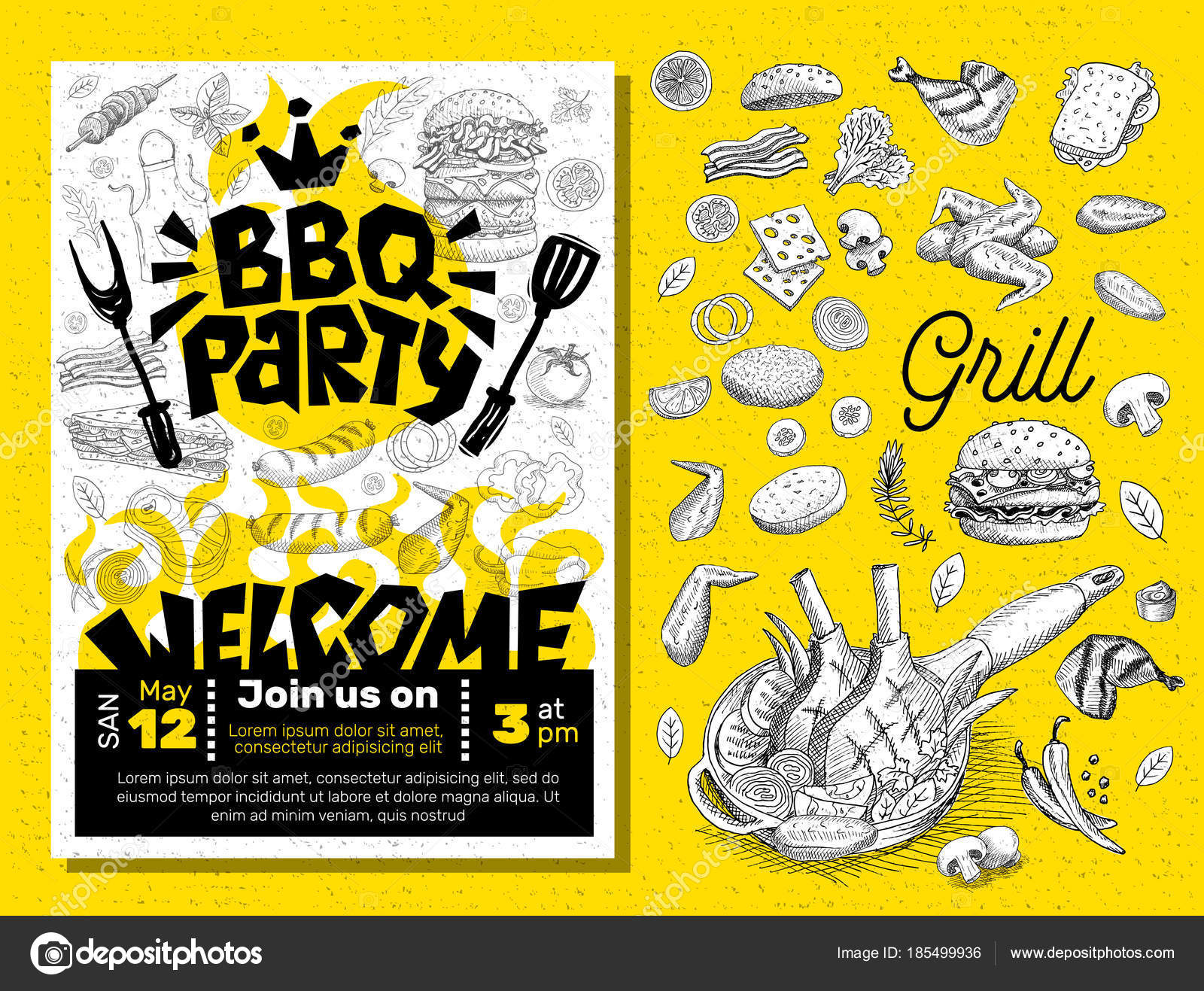 BBQ party Food poster. Barbecue template menu invitation flyer d ...