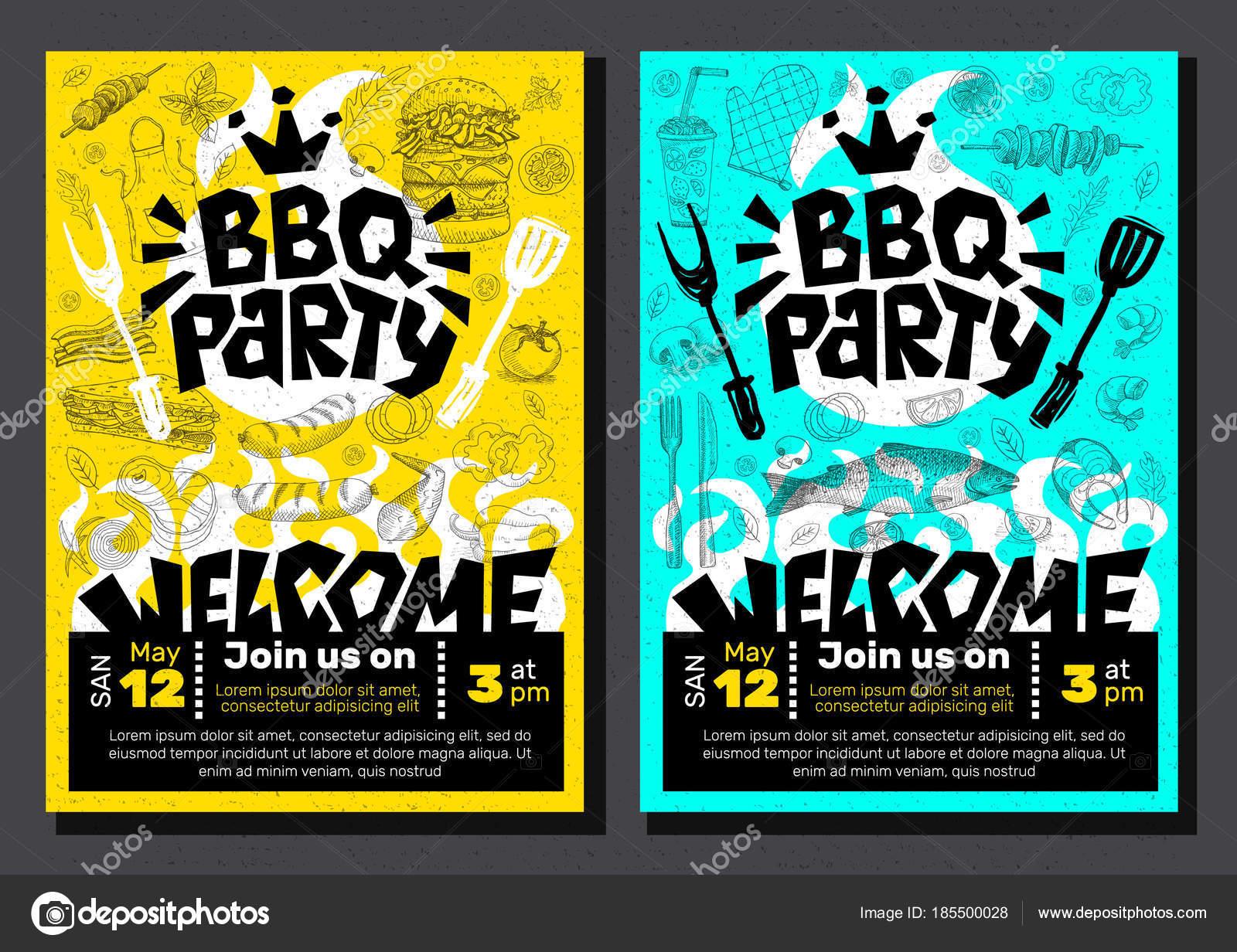 Favoriete BBQ-partij voedsel poster. Barbecue sjabloon menu uitnodiging  @OY37