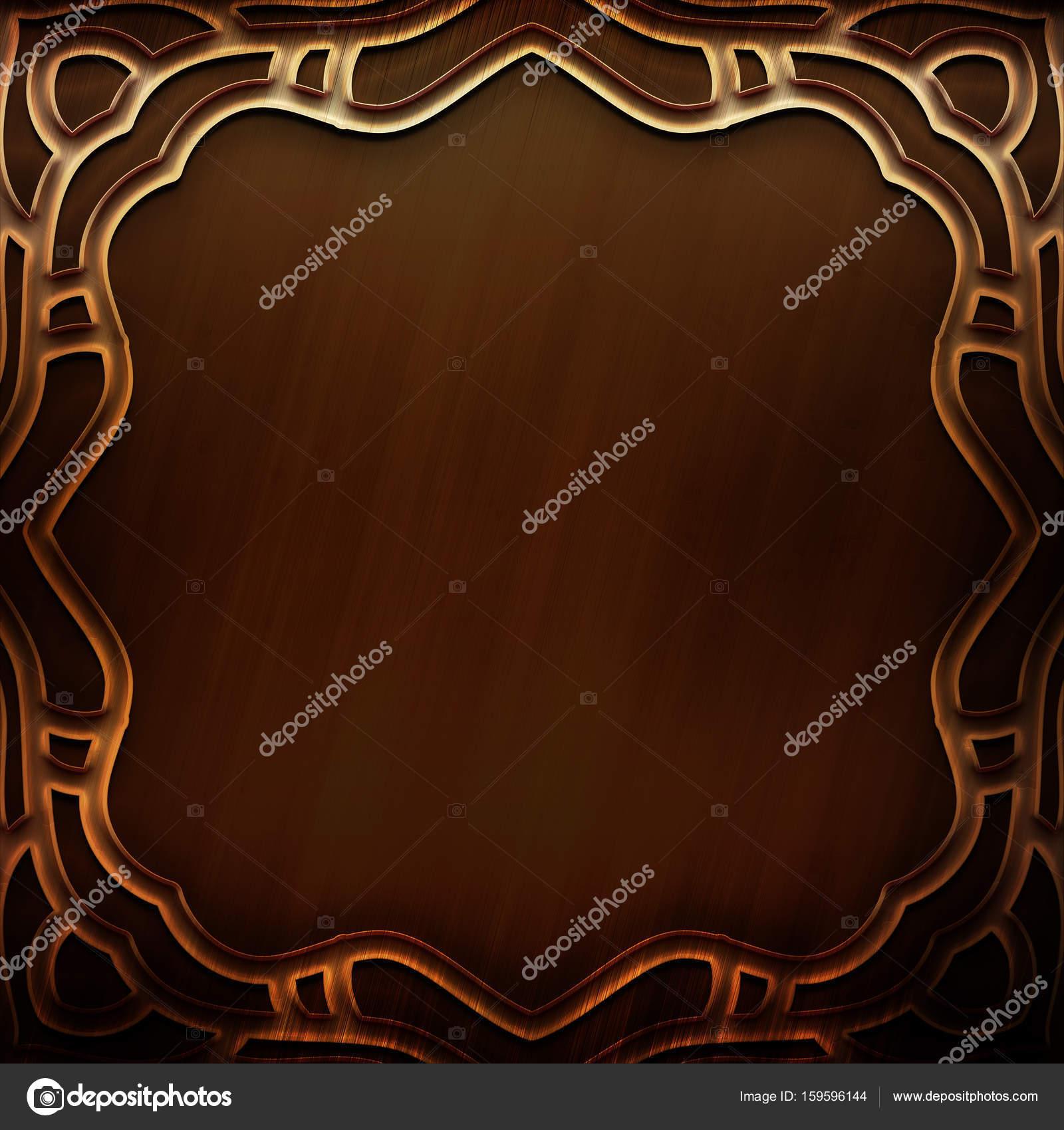 Placa de Metal oro con marco tallado y patrón en estilo clásico ...