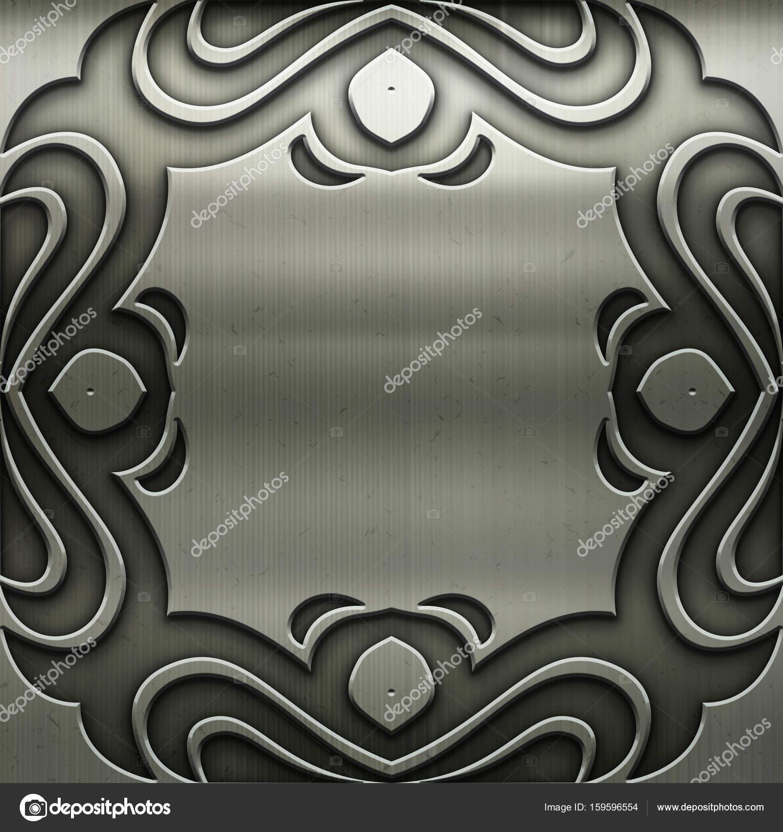 Marco de metal plata con adorno clásico de diseño vintage — Fotos de ...