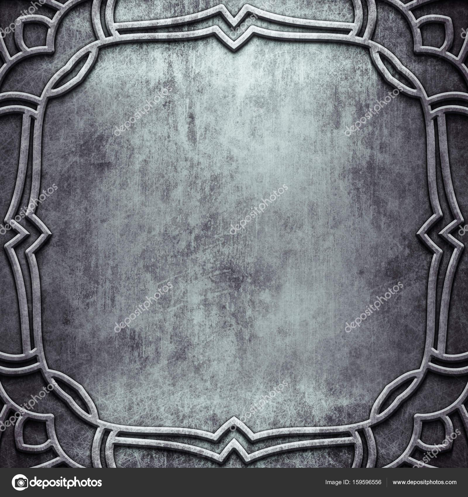 Marco de metal plata con adorno clásico de diseño vintage — Foto de ...