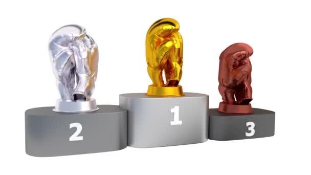 Boxu pódium s zlaté stříbrné a bronzové trofeje v nekonečné rotace