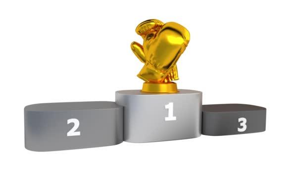 Boxu pódium s zlaté stříbrné a bronzové trofeje objevují