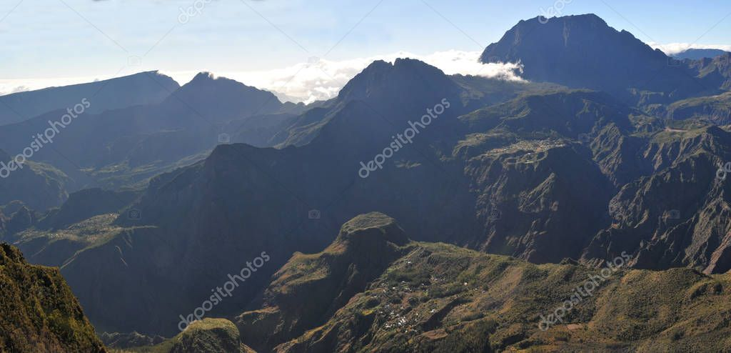 Wide View of Silaos Cirque of Reunion Island with the morning li