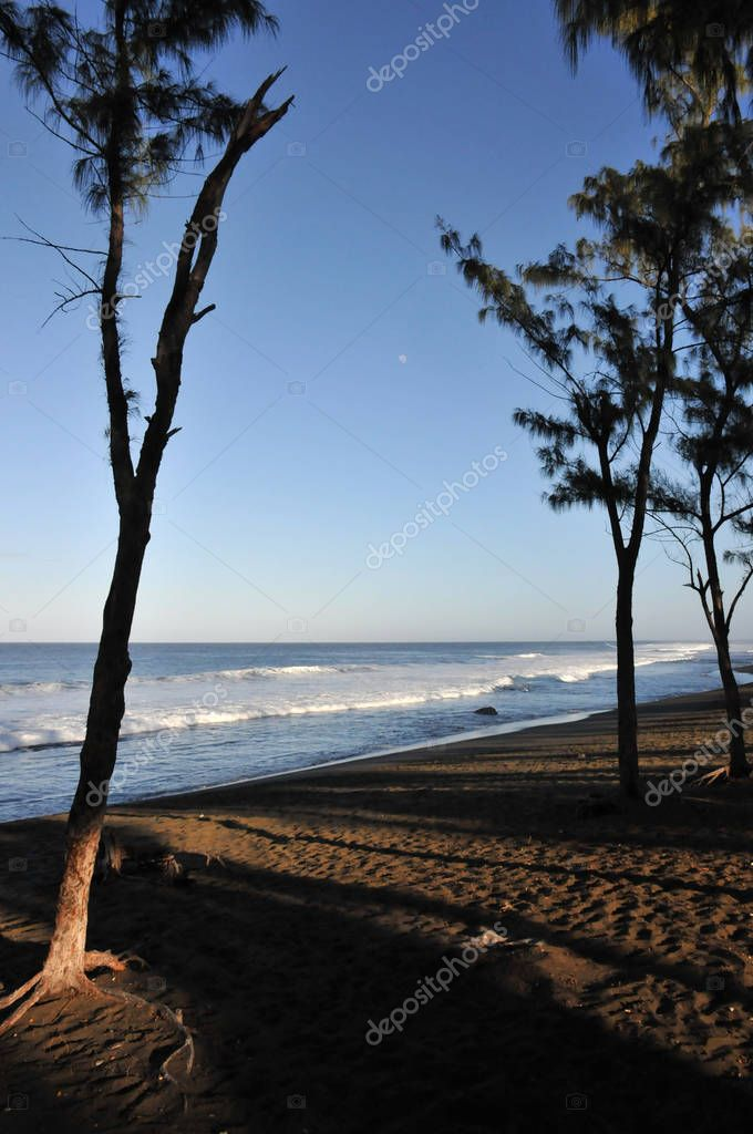 Beach with Dark Sand of The Reunion Island in the Morning Light