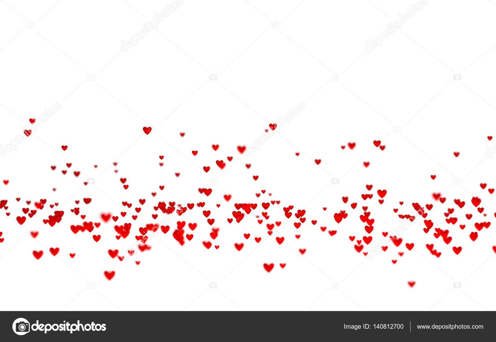 Un montón de diminutos corazones rojos de abajo con un efecto de ...