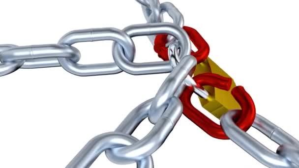 Jeden Visací zámky čtyři kovové řetězy s dvě červené zdůraznil odkazy s efektem Zoom v nekonečné rotace