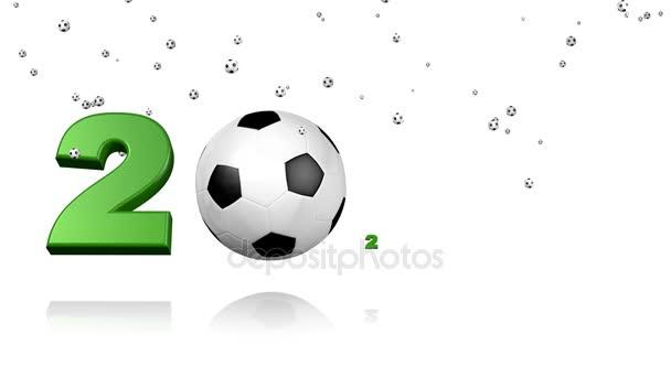 2020 design y banderas europeas aparece bajo una lluvia de muchos pequeños  balones de fútbol