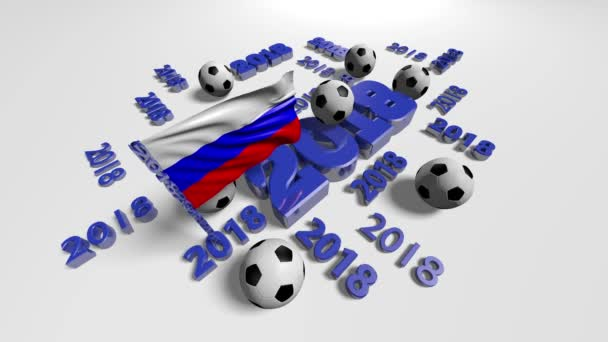 Russian flag and 2018 designs with some footballs