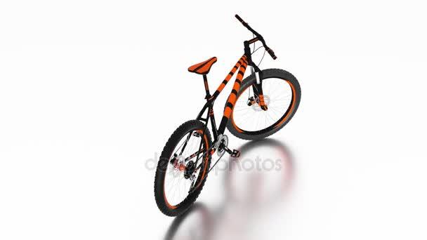 Nekonečné otáčení s bílé pozadí kolem černé a oranžové horské kolo bez jakékoliv značky