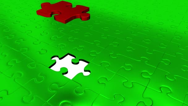Jeden kus Puzzle červená transformovat všechny ostatní zelené dílky na červené