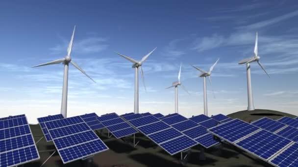Několik systémů větrná energie s některými animovaný solární panely a modrá obloha