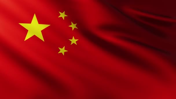 Large China flag background fluttering in the wind with wave patterns