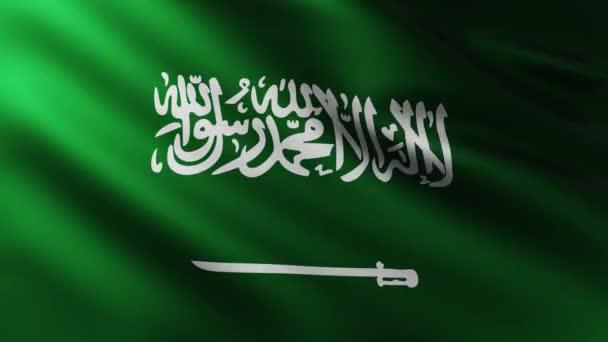 große Fahne aus saudi-arabischem Hintergrund flattert im Wind mit Wellenmustern