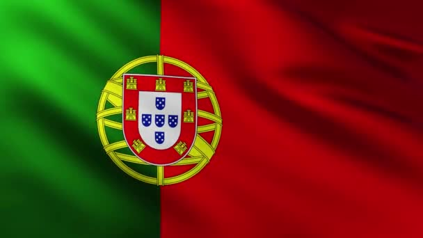 Large Portuguese Flag background fluttering in the wind with wave patterns