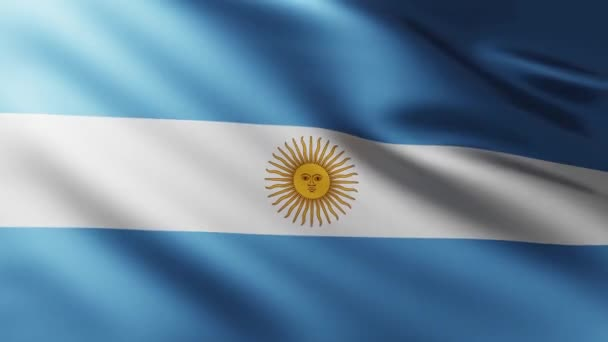 Large Flag of Argentina background fluttering in the wind with wave patterns