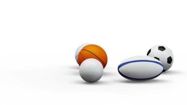 Végtelen fordulat 5 csapat sport labdák fehér háttér