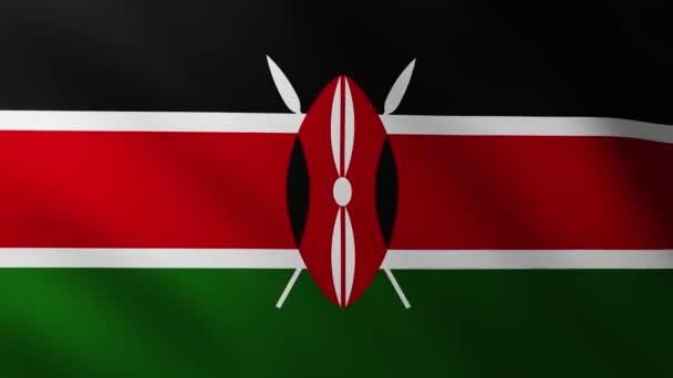 Large Kenyan Flag background fluttering in the wind with wave patterns