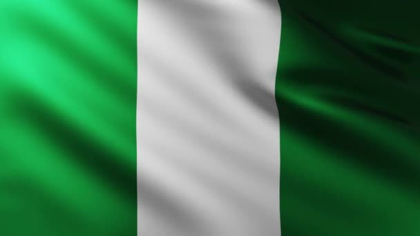 Large Nigerian Flag fullscreen background fluttering in the wind with wave patterns
