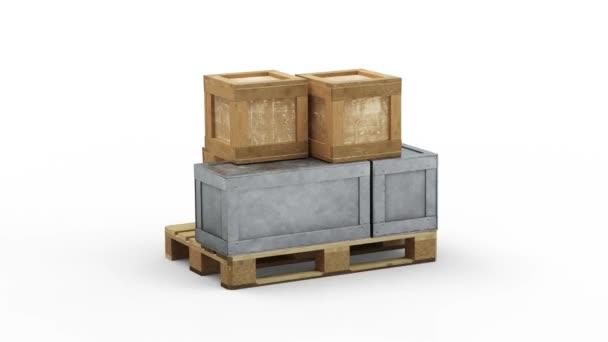 Loop Forduljon meg egy raklap tele közlekedési fém és fa dobozok különböző méretű egy fehér háttér