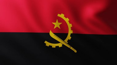 Large Flag of Angola fullscreen background in the wind with wave patterns